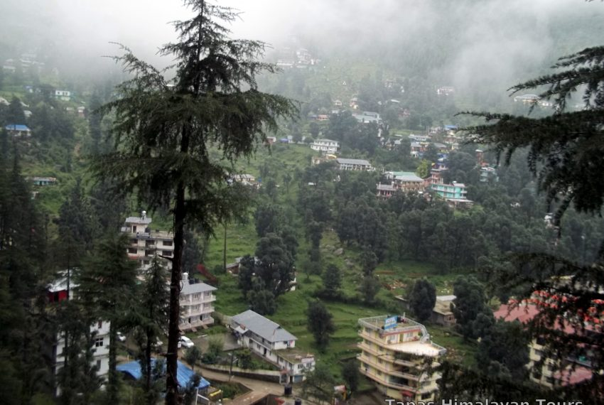 View of Bhagsu Nag as seen from the Hotel Room at Dharamkot, Dharamshala